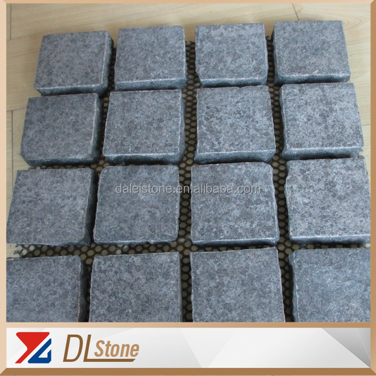 G684 Granite Cube For Outside Paving Net Stickers Flamed Natural