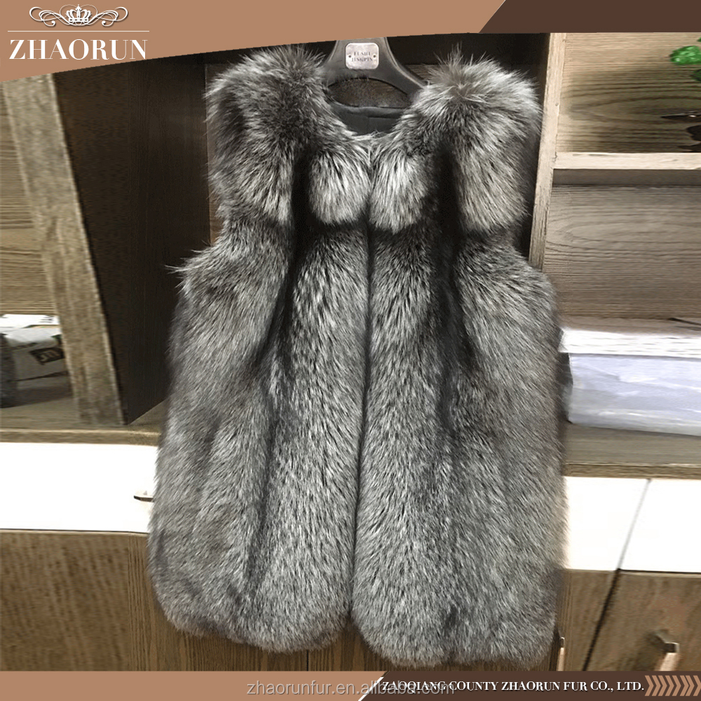 Russian Style Thick Silver Fox Fur Vest Gilet For Women