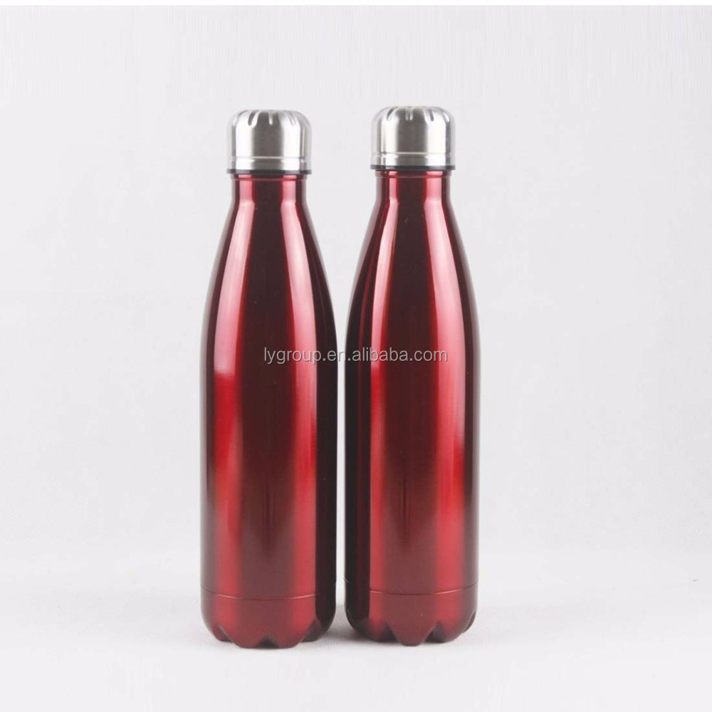 500ml double wall stainless steel 18/8 vacuum insulation cola shaped water flask,inner copper plating vacuum cola water bottle