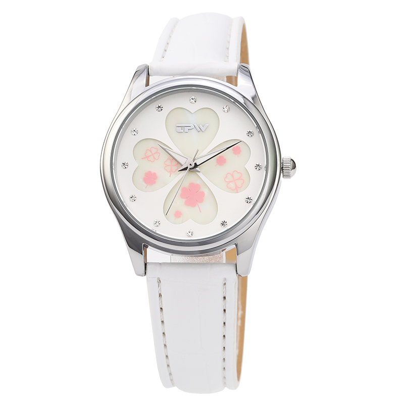 White new design fashion beautiful girls watch stainless steel leather watch <strong>hotting</strong> on sales summer series Reloj de dama