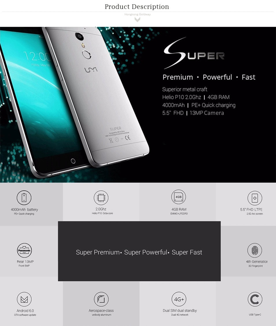 Wholesale UMI Super Smartphone 4G LTE 5.5 inch 1920x1080 FHD IPS MTK6755 Octa Core Android 6.0 Moblie Phone 13MP Cam 4000Mah
