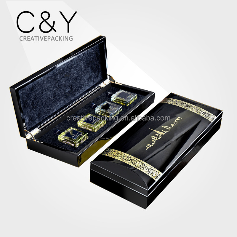 NEW Magnetic Black Mens Piano lacquered Wooden Perfume Box