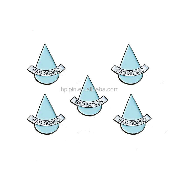 Personalized logo water drop lapel pin metal custom hat pins