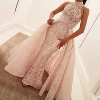 Detachable Skirt Prom Dresses 2017 High Neck Pink Lace Beaded Prom Gown Arabic Style Evening Dress