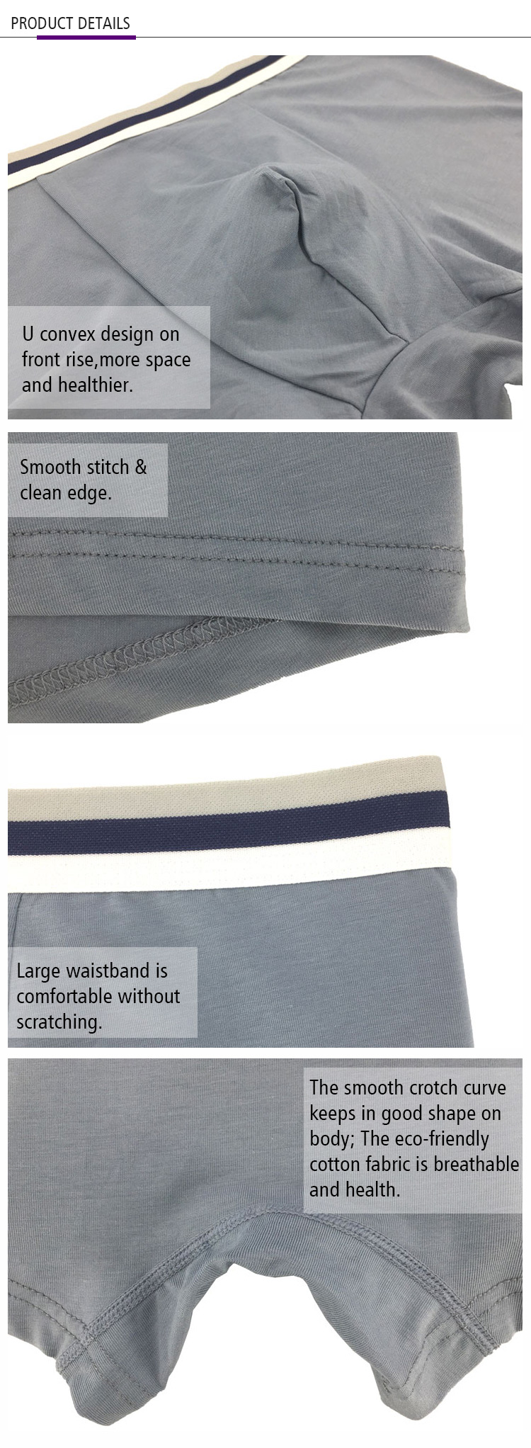ร้อนขาย Soft Touch Breathable ผ้าฝ้าย Unisex Mens Boxer Briefs