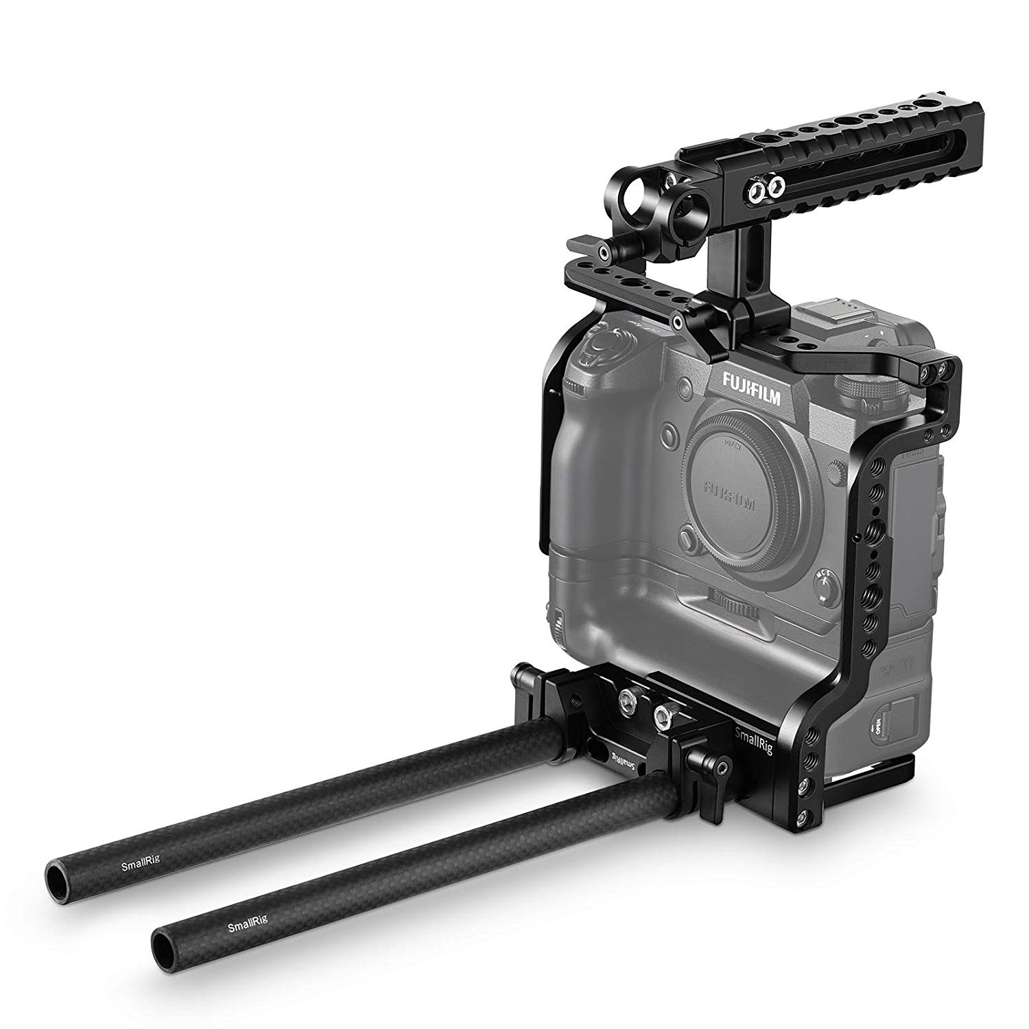 SmallRig Cage Kit with Nato Top Handle, Dual Rod Clamp and 9 inch 15mm Rods for Fujifilm X-H1 Camerawith VPB-XH1 Battery Grip - 2136