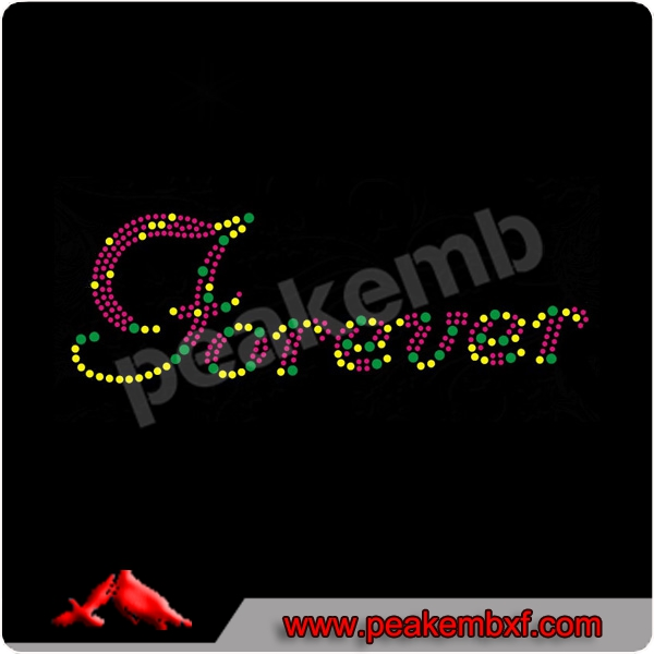 Hot Selling Colorful Letter Forever Rhinestone Heat Transfer Hot Fix Design