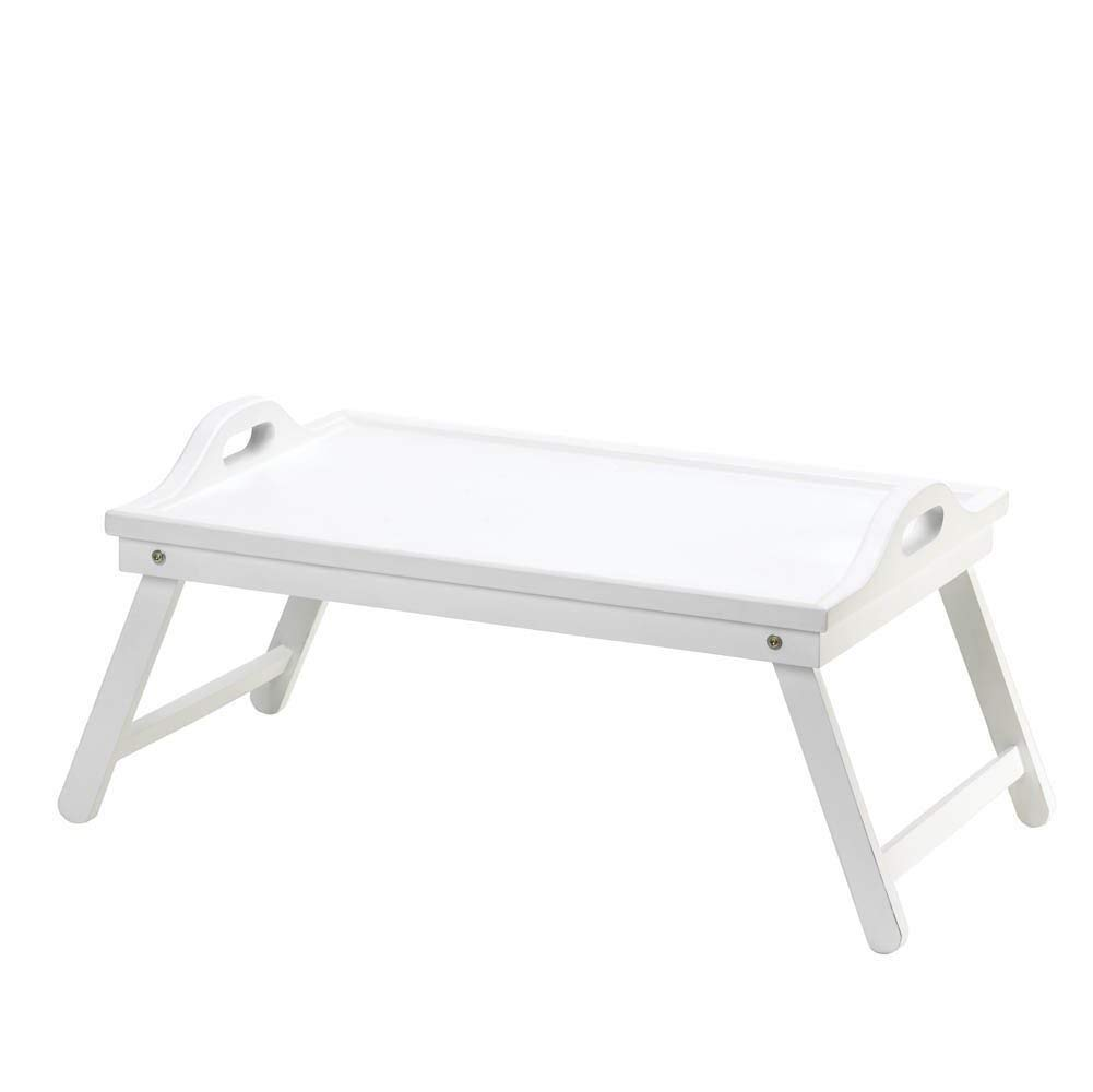 BESTChoiceForYou White Folding Tray, 1 - Breakfast In Bed Trays, Fruit Serving Tray With Legs, White Folding Bed Tray, Tray Folding Table Serving Bed Breakfast White Wood Portable