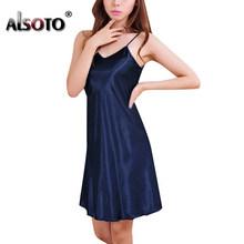 Лето мода женщины ночная рубашка сексуальная V шеи рукавов ремни тонкий сплошной цвет пижамы 8 цвета рубашки ну вечеринку XXXL ночнушка пижама...(Китай)