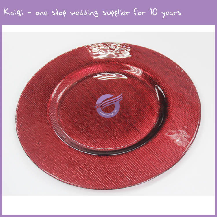 PZ37790 Wholesale wedding party suppliers pink red glass charger plates