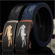 2015 New microfiber Leather crocodile grain business men belt Designer brand Belts For Men High quality Luxury Cintos cinturon
