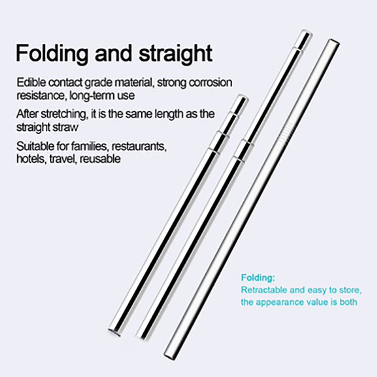 Custom Logo Folding Drinking 304 Stainless Steel Collapsible Folding Straw