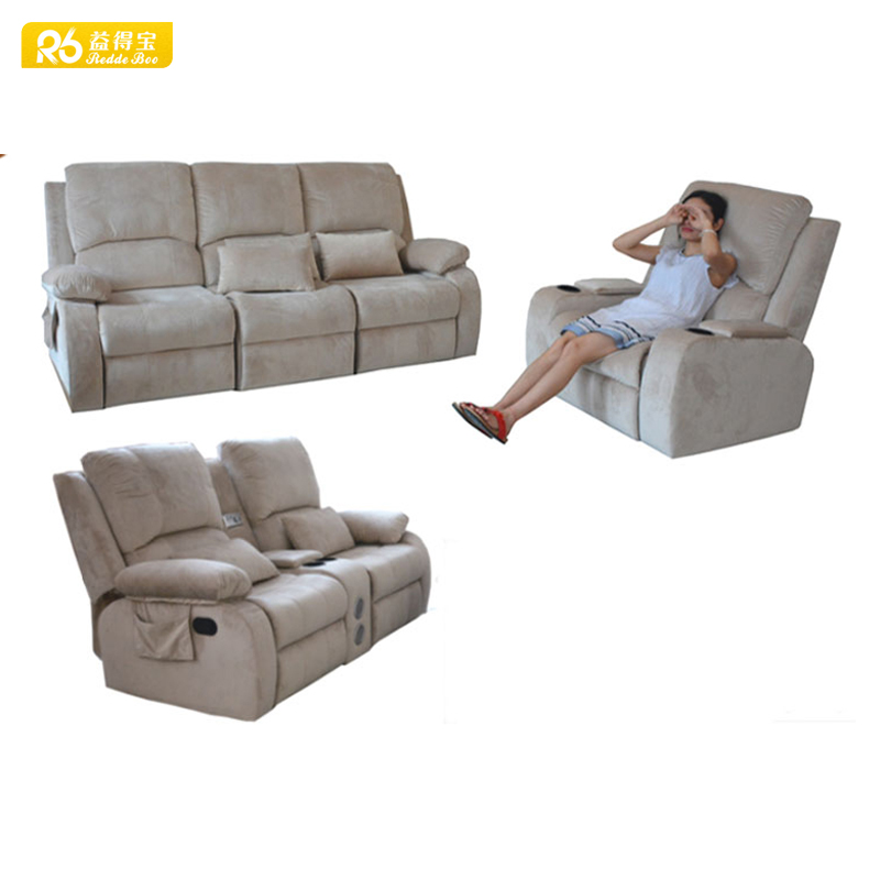American style <strong>sofa</strong> furniture, cozy functional beige fabric recliner <strong>sofa</strong> 8923