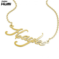 Wholesale handcraft personalized name plate necklace fine jewelry 18k gold