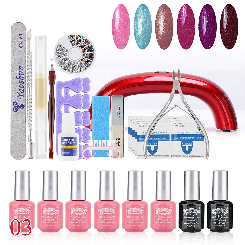 Perfect Summer 31pcs Shellac UV Led Mood Changing 8ml 6 Colors Salon Gel Polish + Base Primer + Top Coat + LED Lamp Nails Art Decoration Tools Gift Sets #03