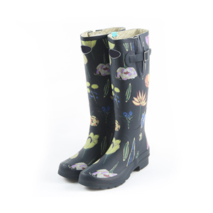 Natural Rubber Knees Rain Boots Printing Gumboot waterproof boots