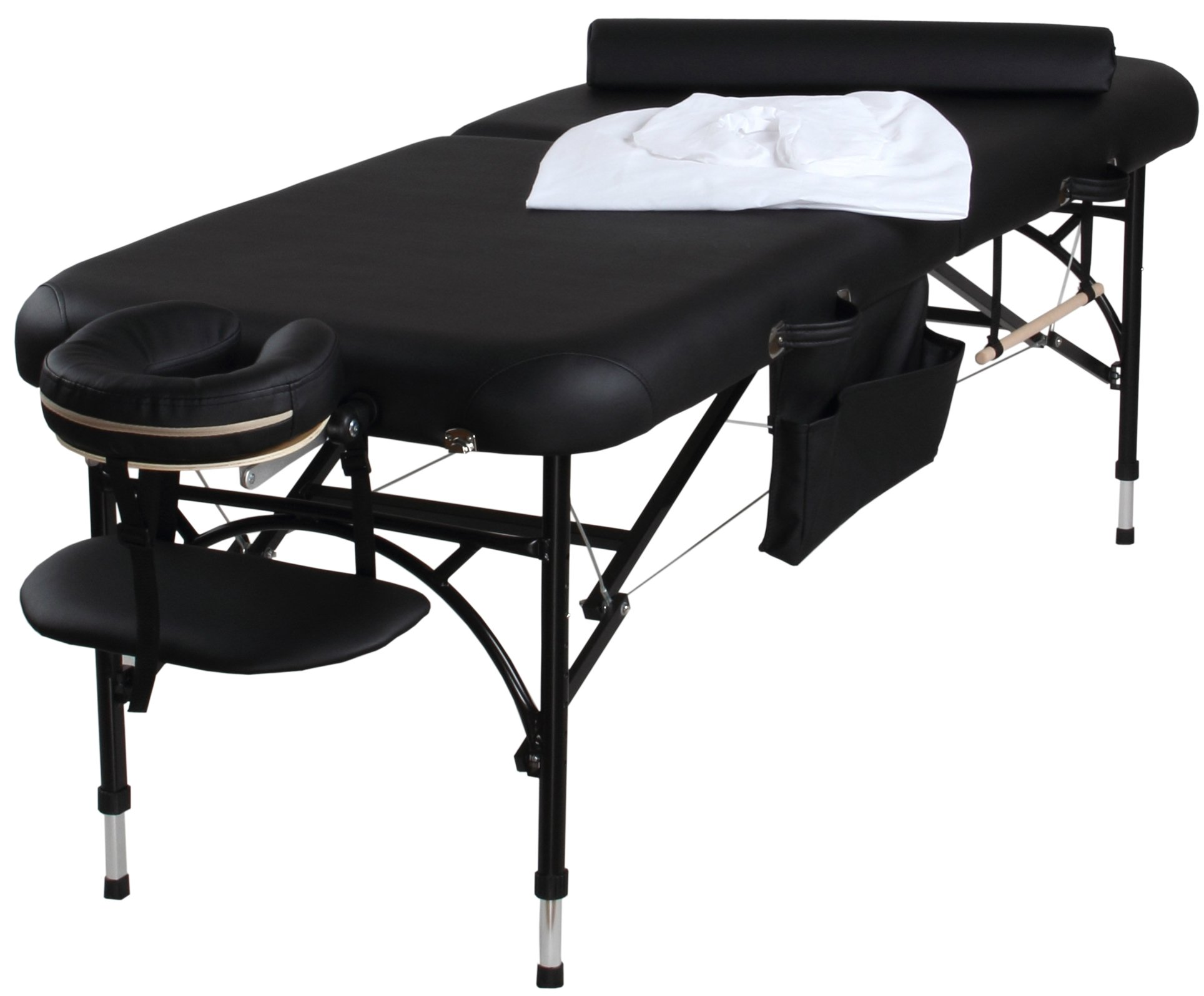 Sierra Comfort All Inclusive Portable Massage Table with Light-Weight Aluminum Frame, Aluminum/Black