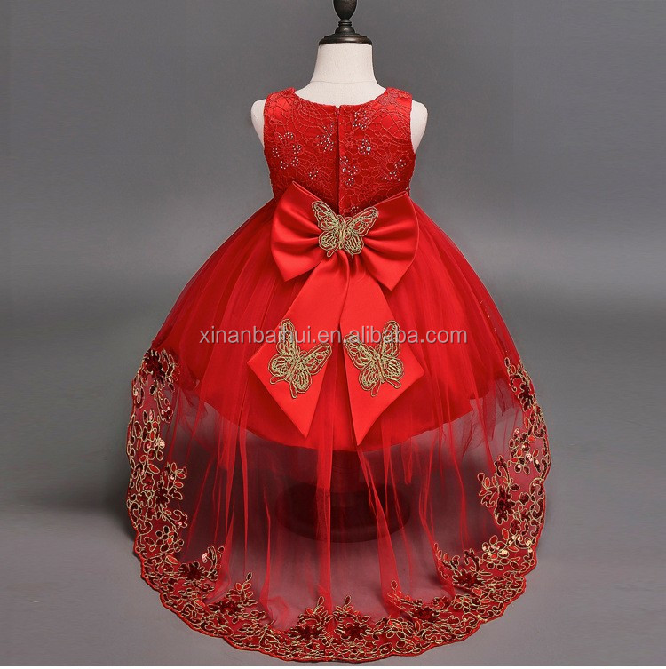 Korean High-grade red wedding dress for 8 years girl Embroidered Princess party Dress baby girl long derss With Diamond