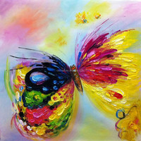 Artist Provide Hand Painted Beautiful Butterfly Oil Painting For Home Decoration Abstract Knife Painting For Friends Unique Gift