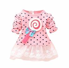 Baby Kid Girl Lollipop Polka Dot Long Sleeve Lace Tutu Dress 2 4Y