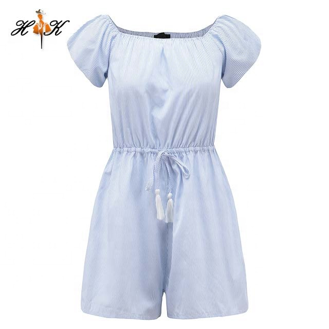 Stripe Pattern Short Sleeve Womens Romper Off Shoulder Short women jumpsuits