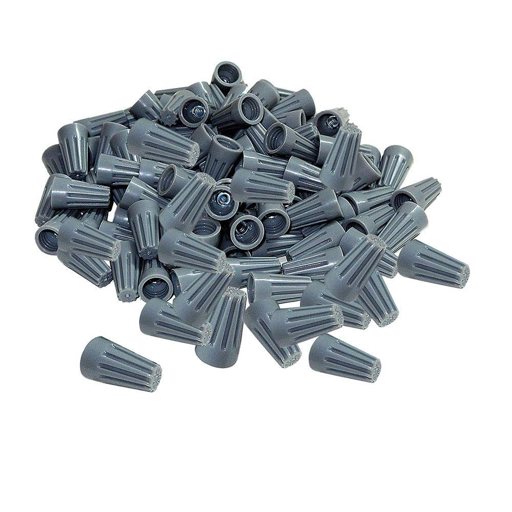 100Pcs twist on wire connectors - Grey #22 - #20 AWG Wire nut Bulk with Spring inserted, easy Screw on electrical caps