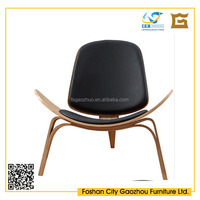 Unique design solid wood lounge chair with leather seat and back