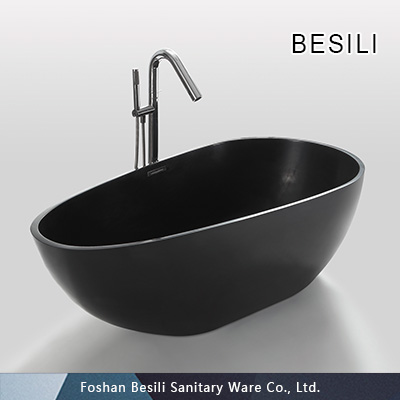 Artificial stone freestanding bathtub black 953B