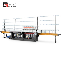 High quality 11 motors 45 degree Straight line Glass beveling Machine for glass edging and polishing