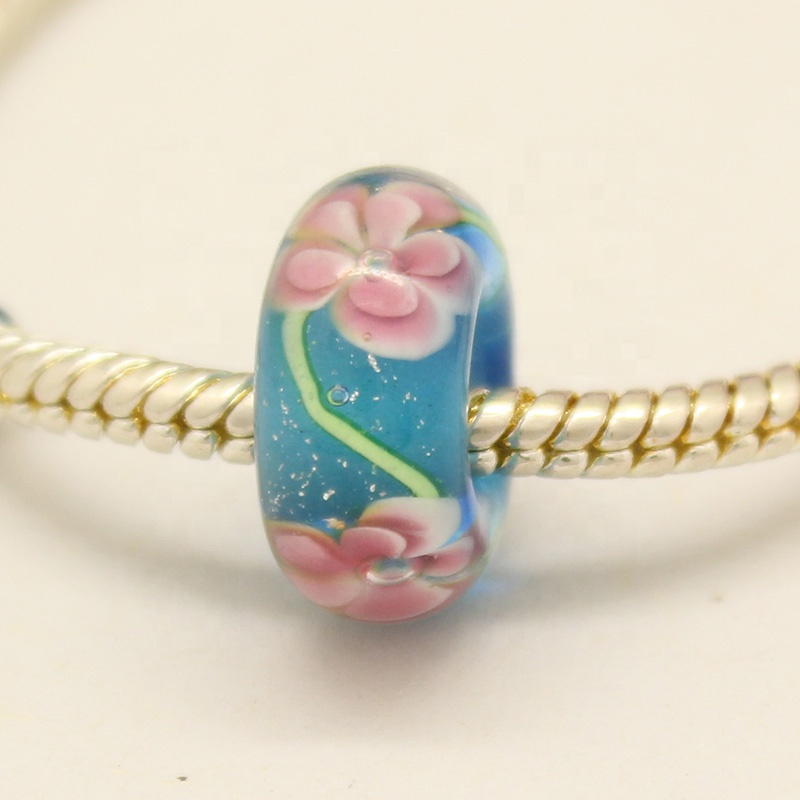 4.5mm hole Top grade wintersweet murano glass bead without core for European charms bracelet