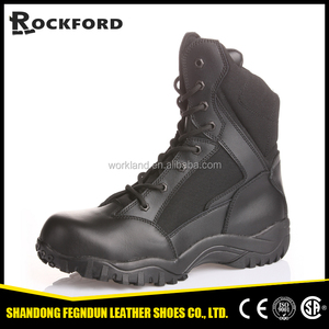 China manufacture cheap genuine leather black high ankle safety army boots FD8204