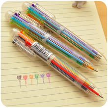 1pc diy creative new writing colorful multi color Ballpoint Pens cute 6 in 1 colors office school stationery promotion gift 0309