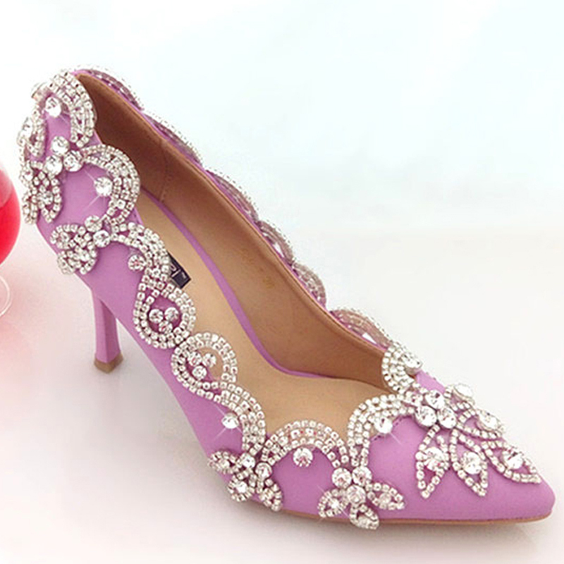 a1b8218d383a Get Quotations · 2015 Glamorous Popular Purple Wedding Shoes Bridal Party High  Heels with Rhinestone Pointed Toe Three Inch