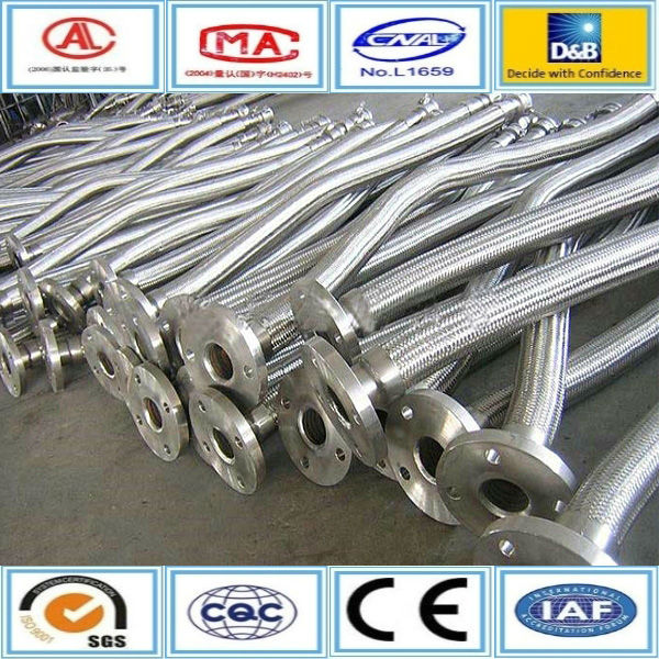 Stainless steel braid double flanged connection flexible hose metal pipe