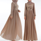 fashionable sequined double layer chiffon fabric long sleeve abaya maxi dress for teenagers and women