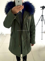 Amry men fur lined parkas with raccoon fur collar long parka jackets men