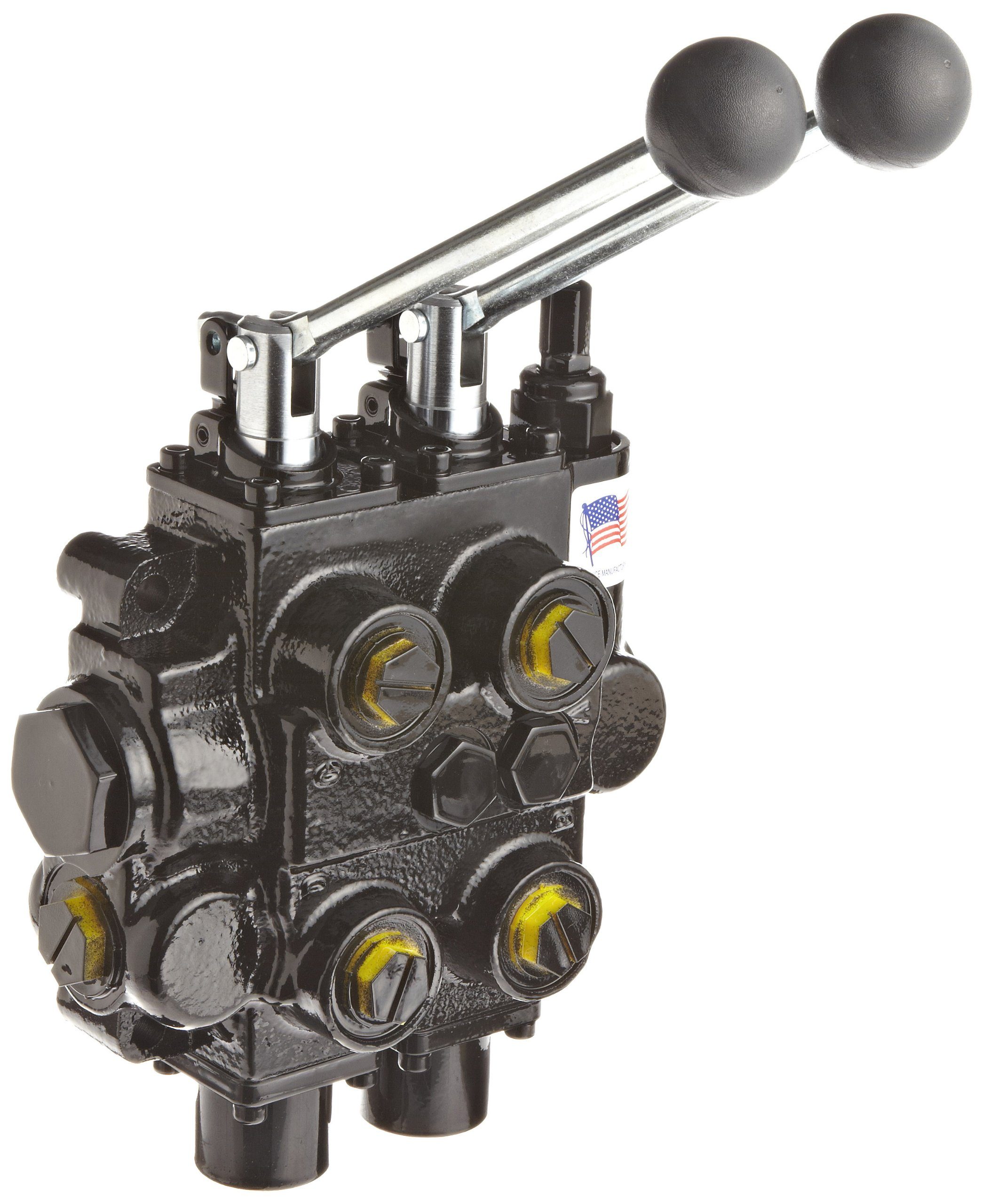 Prince RD526CCAA5A4B1 Directional Control Valve, Monoblock, Cast Iron, 2 Spool, 4 Ways, 3 Positions, Tandem, Spring Center, Lever Handle, 3000 psi, 25 gpm, In/Out: #12 SAE, Work #10 SAE