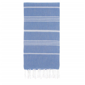 Sandy Beaches 100% Organic Cotton Turkish Towel, Large Beach Towel/Bath Towel, 39x70. Blue and White Striped