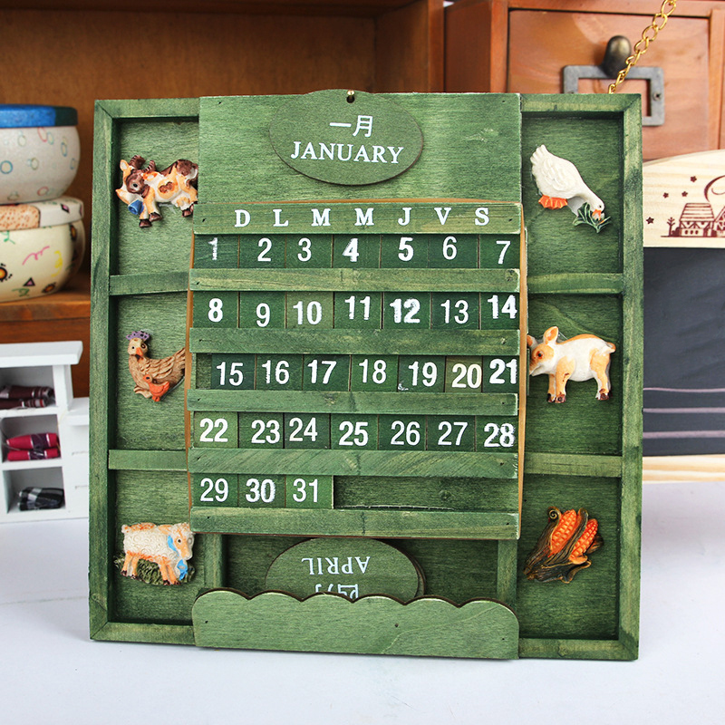 2015 Mediterranean garden style wooden hand painted army green ornaments can replace Seasons <font><b>home</b></font> accessories gift card calendar