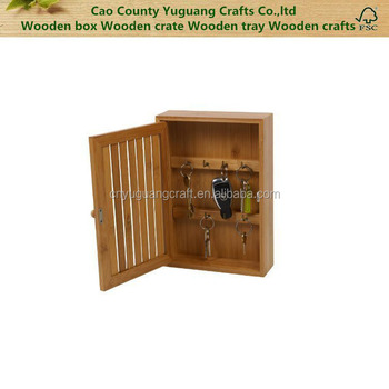 Bamboo And Wooden Wall Mounted Key Box, Natural Key Holder Cabinet
