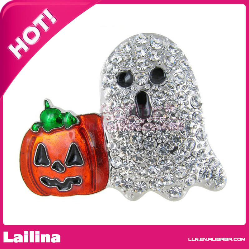 Happy Halloween Junior Jack and Ghost Rhinestone Brooch Pin with Clear Crystals