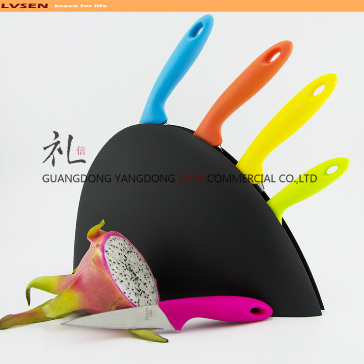 semi-circle stand colorful cheap knife set with pp plastic holder