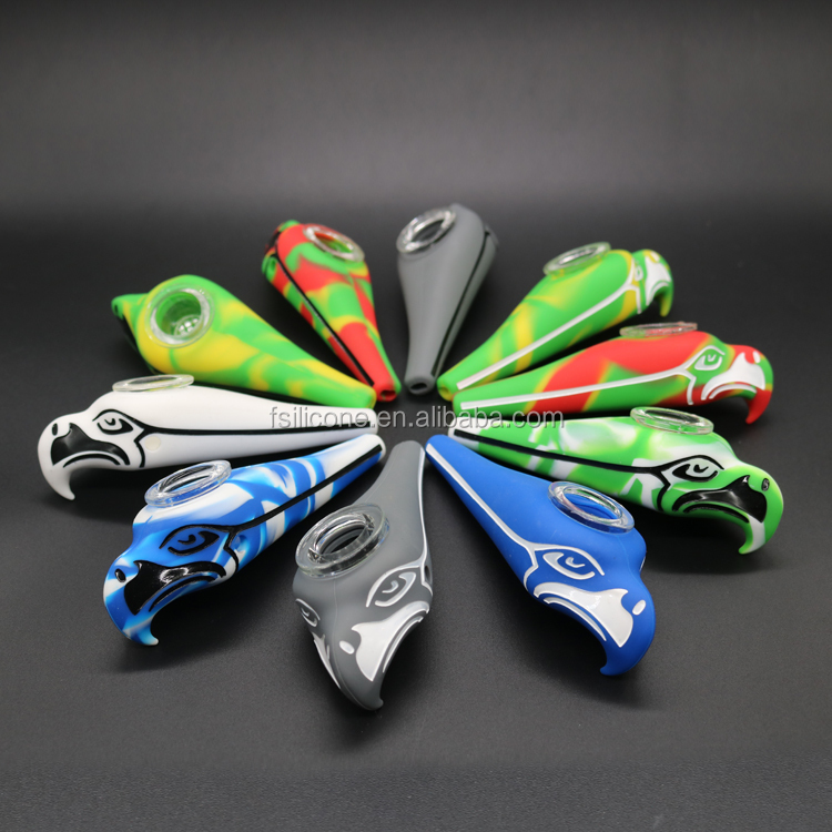 Beyou Eagle design multi-color silicone tobacco weed smoking pipes for dry herb