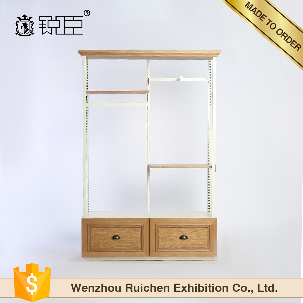 Wholesale factory boutique wood retail clothing display rack for shopping mall