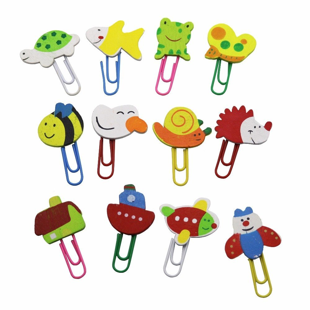 6 Pcs Creative Bookmark Version Painted Wooden Cartoon Paperclip Cute Animal Paperclip School Office Supplies Stationery