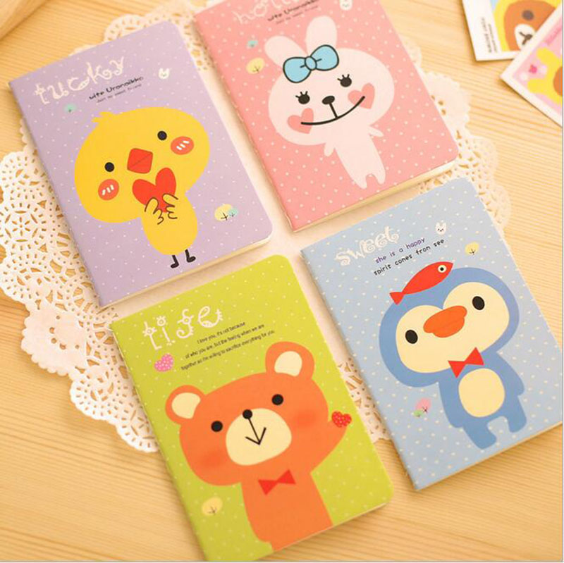 11.9 X 8.4cm Rabbit Bear Mini Pocket Cute Animal Notebook School Office Supplies Korean Diary Note Books For Kids Students