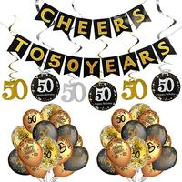 Cheers to 50 Year Banner Sparkling Celebration 50 Hanging Swirl Balloons 50th Birthday Party Decorations Kit For Sale