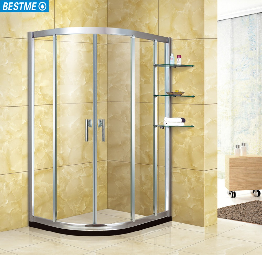 Customized Frosted Retractable Shower Cabin Round Sliding Shower