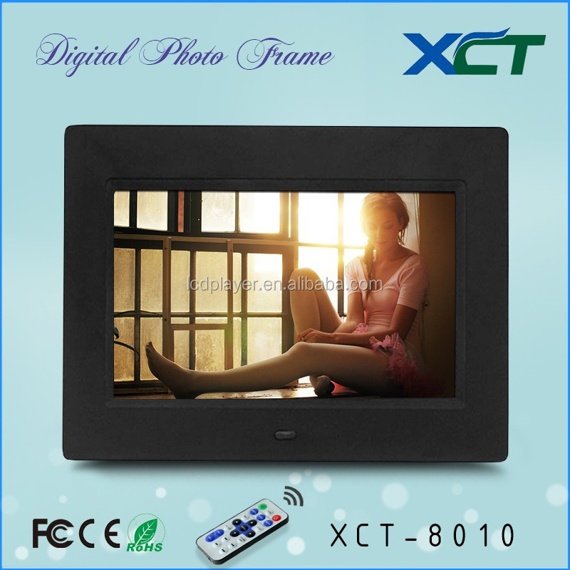 Wholesale bulk wall mounted gif lcd led 8 inch video loop digital photo frame with power bank ce rohs XCT-8010