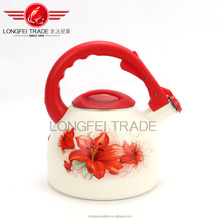 white red decal hot sale whistling enamel kettle/enamel tea kettle/enamel camping kettle